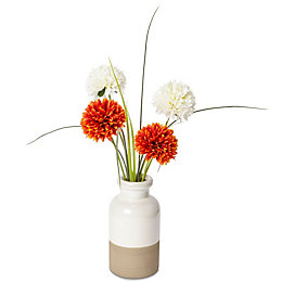 Orange & Cream Pom Pom & Grass Artificial